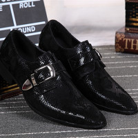 European Mens Wedding Shoes Flats Black Classic Italian Shoes Men Snake Skin Leather Smoking Shoes