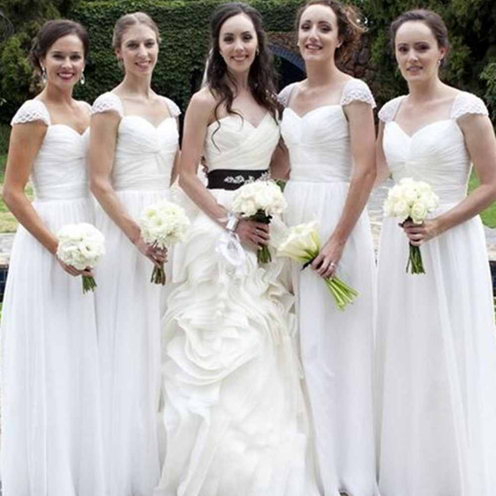 Elegang White Long   Bridesmaid     Dresses   Sweetheart A Line Floor Length Pleat Chiffon Maid Of Honor   Dress   2019 Cheap Women Gowns