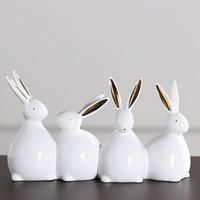 Creative Ceramic four rabbit bunny animals four duck for children's room accessories Home Decor Crafts