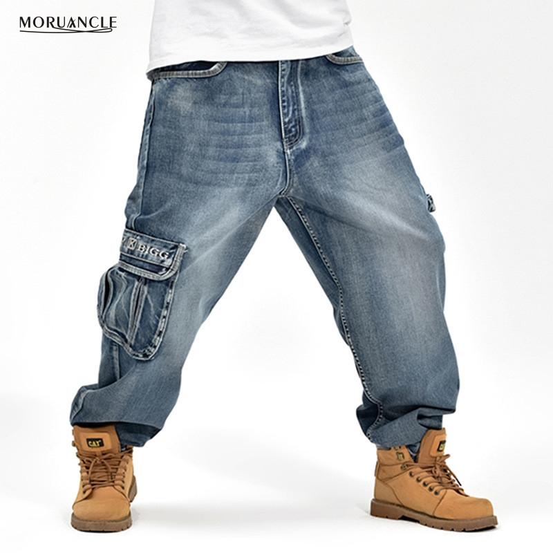 MORUANCLE Men Baggy Hip Hop Jeans Pants Loose Skateboard Denim Joggers Plus Size 30-46 Multi Pockets Dance Trousers For Big Tall