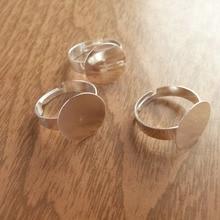50 шт./лот- 15 мм плоская накладка Посеребренная Регулируемая основа для кольца для DIY жидкого стекла Пузырьковые аксессуары