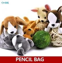 Cute dog plush pencil case , novelty kawaii pouch for kids animal shool bag