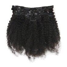 Полный блеск афро кудрявые человеческие волосы для наращивания на заколках волосы Remy для афро женщин натуральный черный цвет 7 шт. 100 г