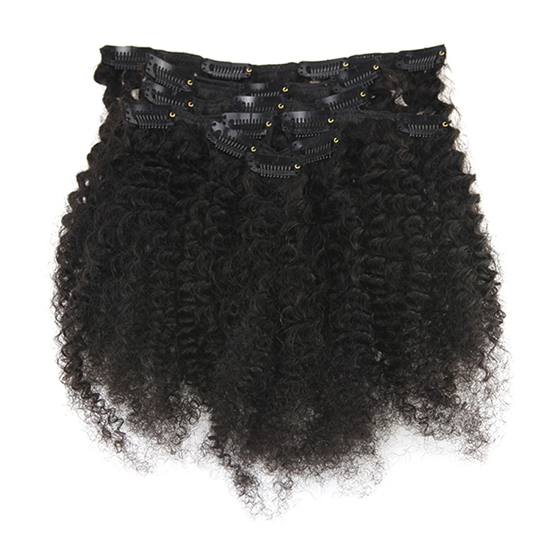 Full Shine Afro Curly Clip In Human Hair Extensions 100% Machine Made Remy HairFor Afro Women Natural Black Color 7 Pcs 100 Gram