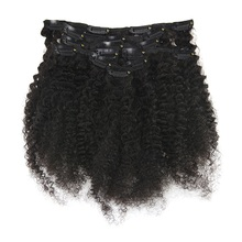 Full Shine Afro Curly Clip In Human Hair Extensions 100% Remy For Women Natural Black Color 7 Pcs 100 Gram