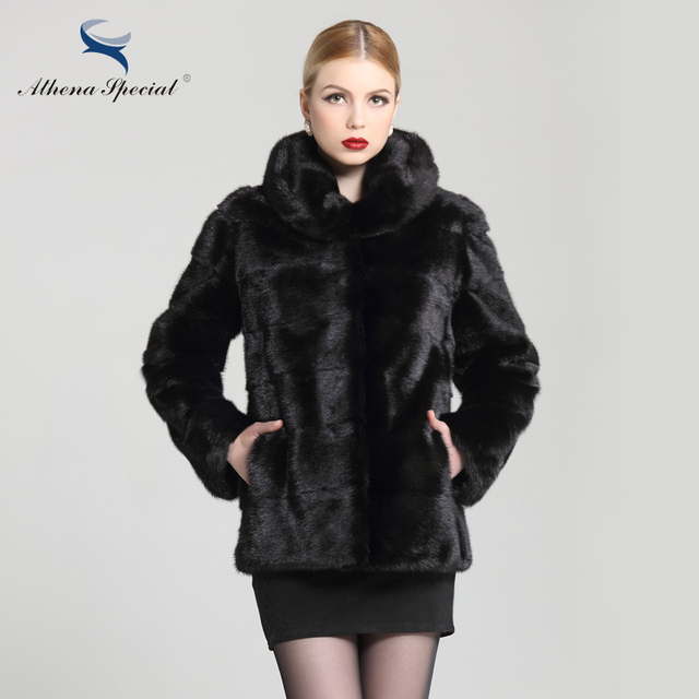 Athena Special Ladies Luxury Women's Short Fur Coat With Hoodie Winter Solid Mink Coats And Jackets, Women Genuine Mink Coat