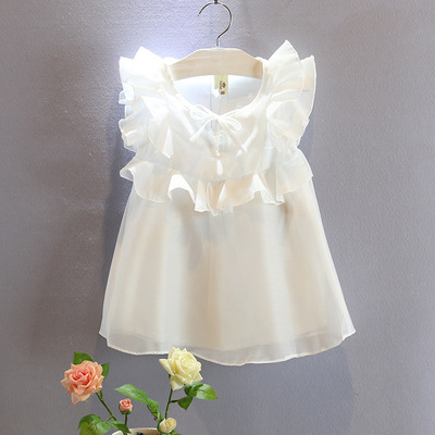 new arrived summer 2015 girls blouse fashion Flouncing collar chiffon kids girl blouse camisa for 2~7 age toddler baby clothes