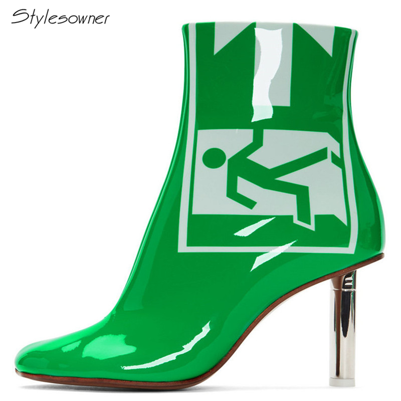 Stylesowner Sexy Patent Leather Women Ankle Boots High Heel Zipper Short Boots For Lady Green Printed Color Female Botas Shoes women sexy high heel ankle boots with lock lace up patent leather boots autumn short boots wedding shoes women botas size 36 46