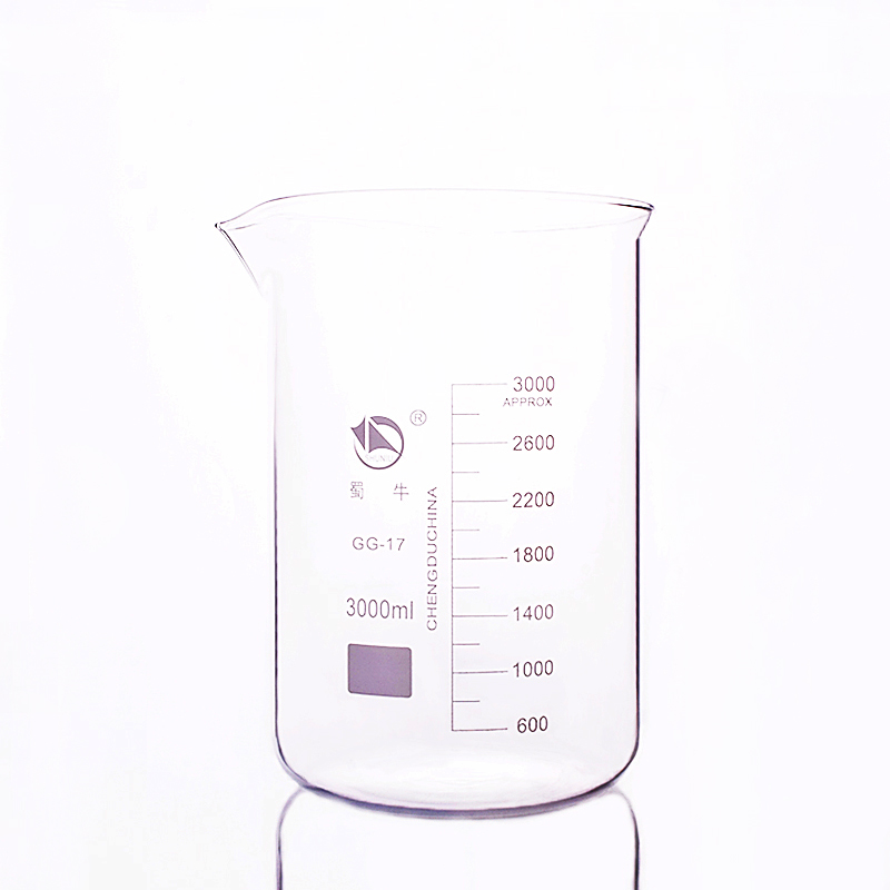 Beaker in low form,Capacity 3000ml,Outer diameter=160mm,Height=245mm,Laboratory beaker
