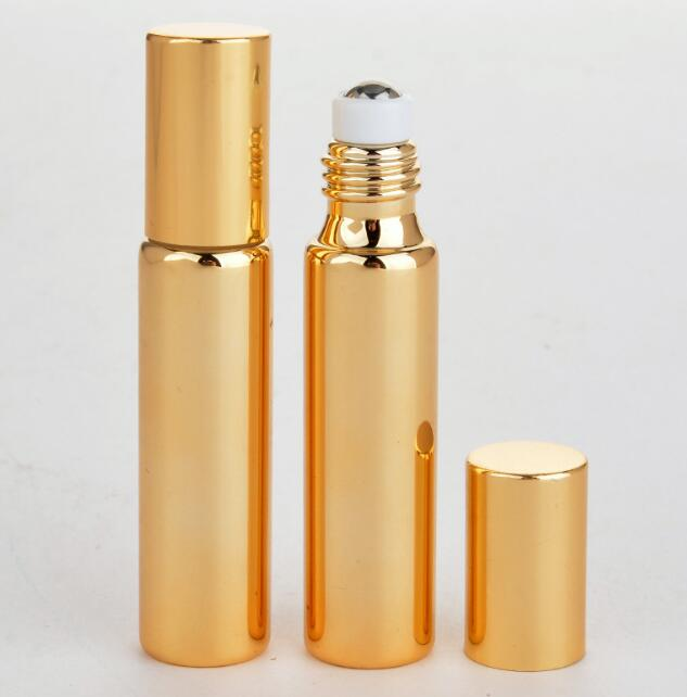 100pcs Fast Shipping 10ML Metal Roller Refillable Bottle For Essential Oils UV Roll-on Glass Bottles Gold & Silver Colors SY89