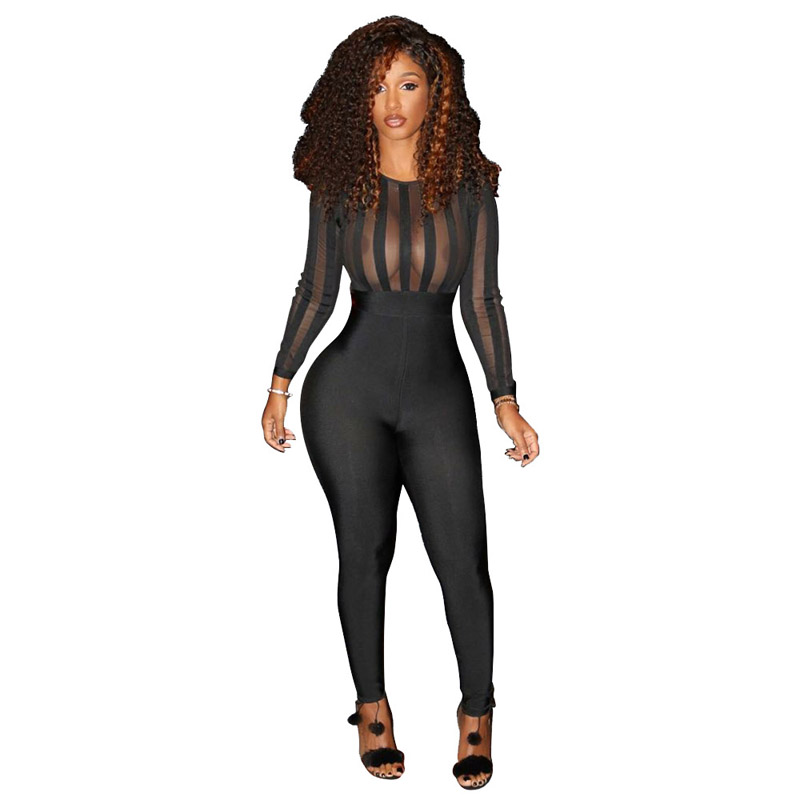 Hot Sale Womens Long Sleeve O Neck Casual Party Club Sexy See Through Sheath Vintage Long Pants Black Skinny Jumpsuit 2018