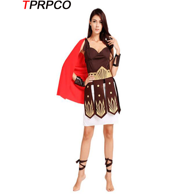 TPRPCO Ancient Roman Warrior Gladiator Costumes Masquerade Party Women Halloween Adult Cosplay Costume NL122