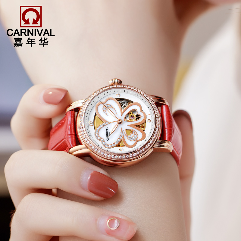 Switzerland Carnival Luxury Brand Watches Women Automatic Mechanical Wristwatches Sapphire Waterproof relogio feminino C8032-3