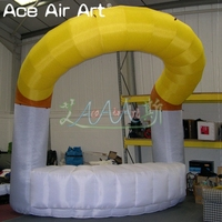 Durable yellow and white inflatable kiosk bar,sale stand stall station booth with bar counter for trade exhibition