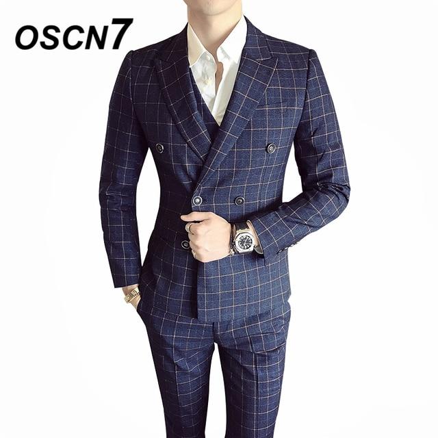 5e5b52e13ecf OSCN7 Casual Business Chcek 3 Piece Suit Men 2019 Wedding Dress Plaid Suits  for Men Party Gentleman W6187 Three Piece
