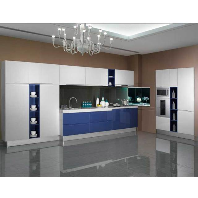 White Kitchen Cabinets High Gloss: Flashing White Blue High Gloss Lacquer Guangzhou Wholesale