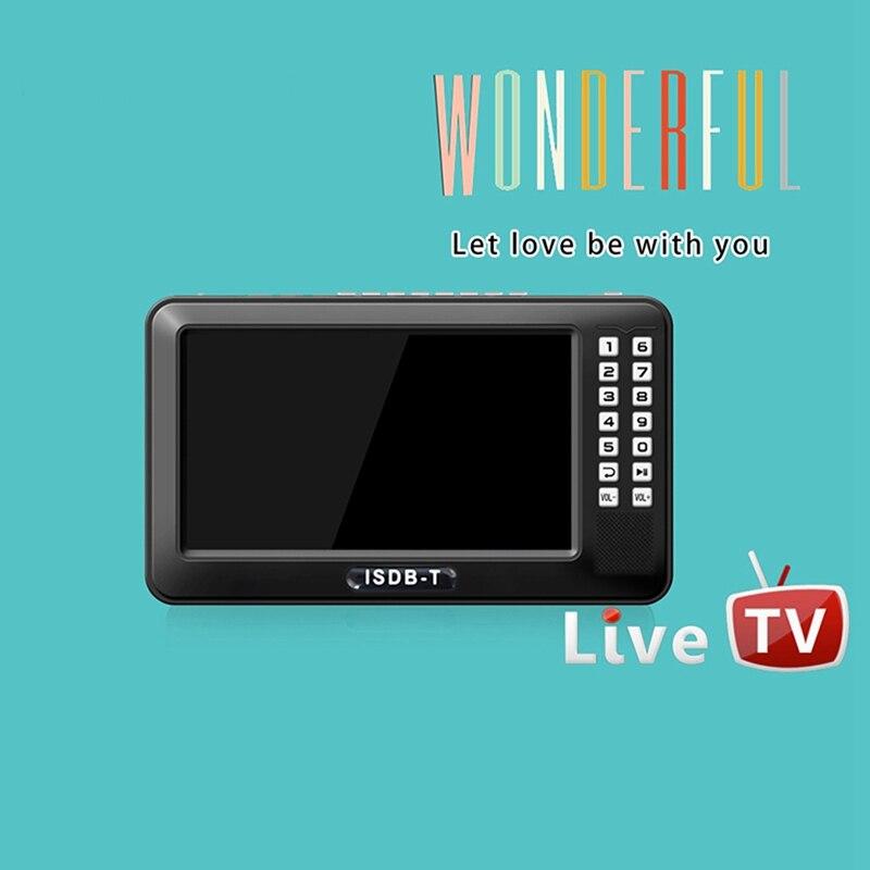 Portable 4.3 pouces Lcd Tv isdb-t complet Seg Fm Rechargeable Tv pour les films en direct musique Fm à tout moment prise ue