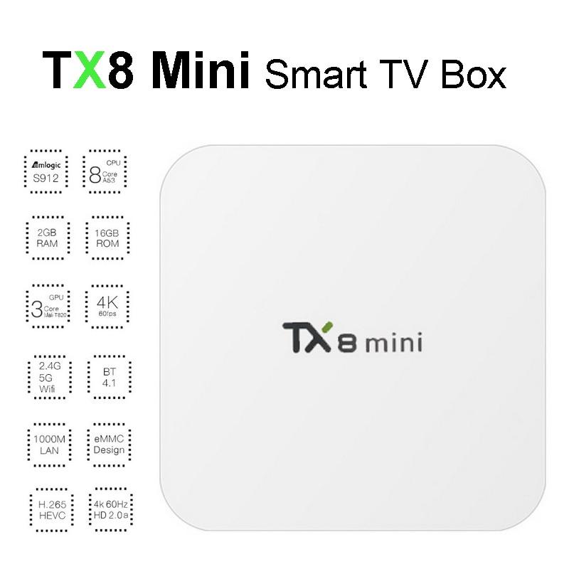 TX8 Mini Android Smart TV Box Amlogic S912 Octa Core 2GB 16GB 4K Media Player Bluetooth Dual Wifi Android6.0 TVbox Set Top Box zidoo x6 pro octa core smart android 5 1 tv box hd 4k 3d 2gb 16gb h8 m8s network media player hdmi 2 0 bluetooth 4 0 dual wifi