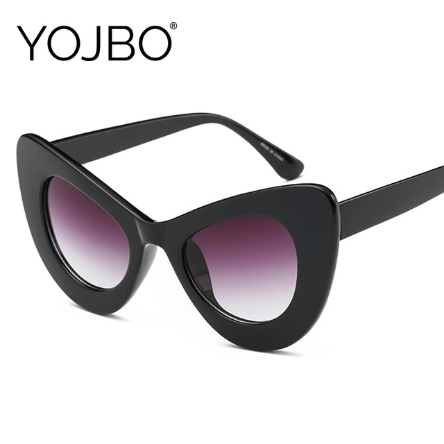 240a26f1a2759 YOJBO Brand Designer Cat Eye Sunglasses Women Mirror Gradient HD Lens Retro  Vintage Sun Glasses Female Black Pink UV400 Shades