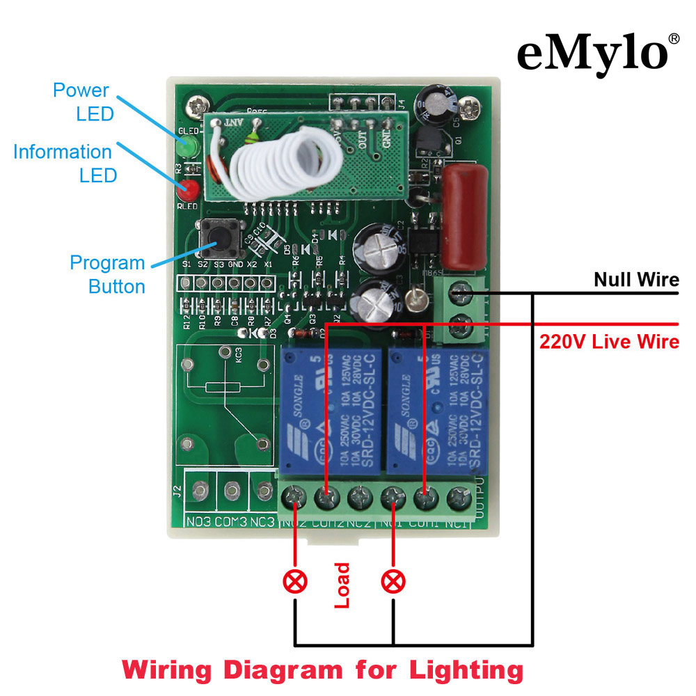 Schema Elettrico Emylo : Emylo v v v w canali mhz rf wireless remote