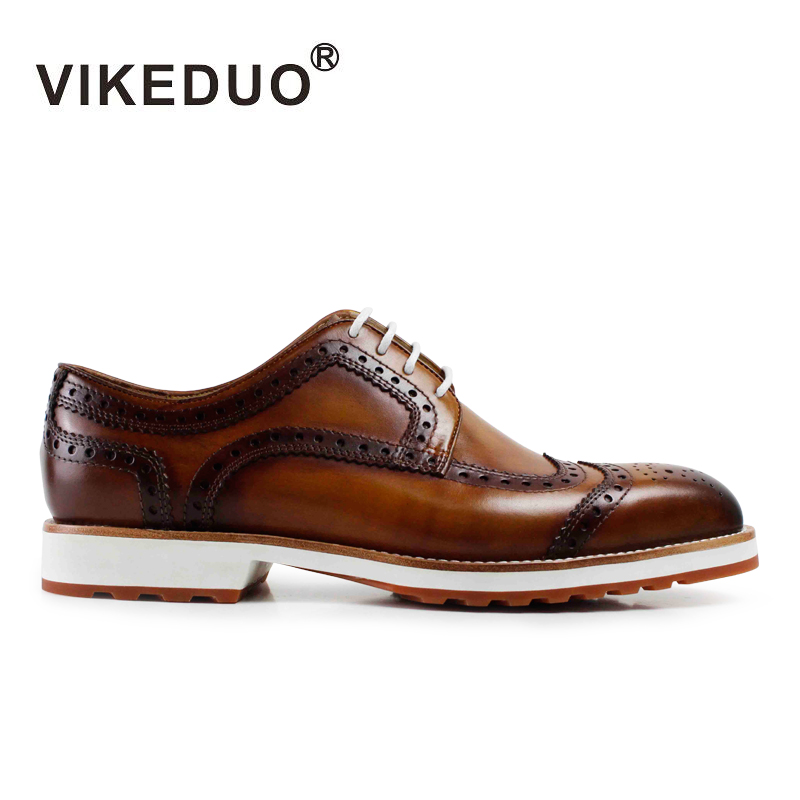 Vikeduo 2019 Handmade Designer Fashion Party Wedding Casual Dance Brogue Male Shoe Genuine Cow Leather Men