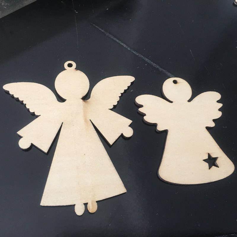 10pcs/bag Angel Style Wood Decorations Modern Home Decor Natural Wood Wall Hanging Birthday & Festival Party Craft Ornament