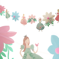 2m Little Princess Flowers Paperboard Banners Personality Wedding Bunting Flags Pink Vintage Party Baby Show Garland Decoration