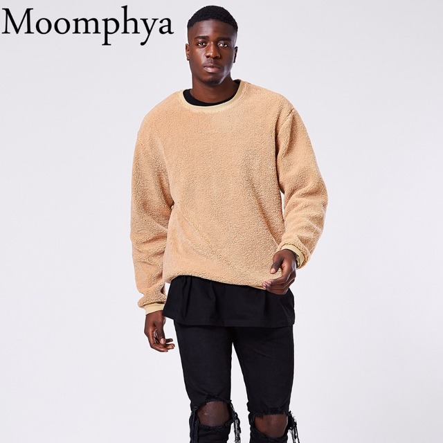Moomphya 2017 New winter cashmere sweatshirt warm fluff fall hoodies sweatshirt fall hip hop streetwear men