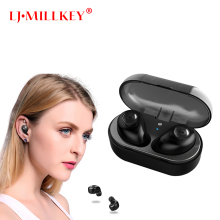 TWS Bluetooth Earphone Earbuds Control Hifi Stereo Wireless Mic for Phone With Charger Charging Box Mini LJ-MILLKEY YZ126