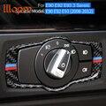 Для BMW E90 E92 E93 2008-2012Interior из углеродного волокна переключатель фар кнопки крышка отделка наклейки для стайлинга автомобиля 3 серии Аксессуары