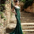 Prom dress 2017 verde vintage lace sereia sexy backless sheer beading formal longo evening party dress