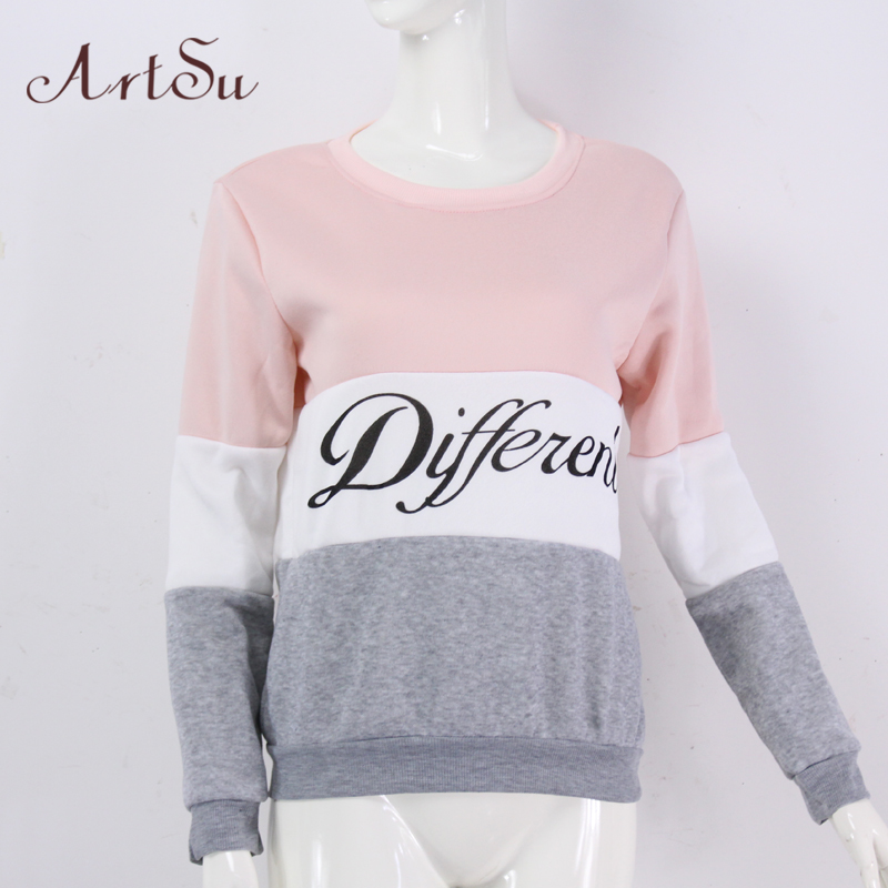 ArtSu 2017 Autumn and winter women fleeve hoodies printed letters tracksuit women's casual sweatshirt hoody sudaderas EPHO80027 12