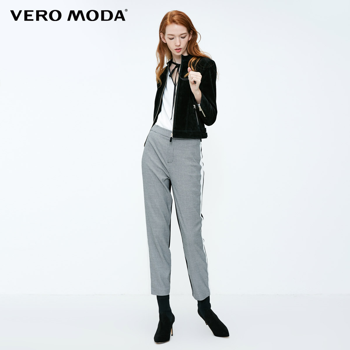 Image 2 - Vero Moda New Womens Houndstooth Splice Front Zip Plaid Stretch Pants  318350519Pants