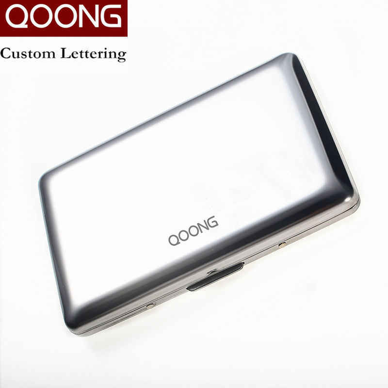 QOONG RFID Travel Card Wallet Stainless Steel Men Women Business Credit Card Holder ID Card Case Metal Cardholder Carteira