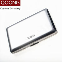 QOONG RFID Travel Card Wallet Stainless Steel Men Women Business Credit Card Holder ID Card Case