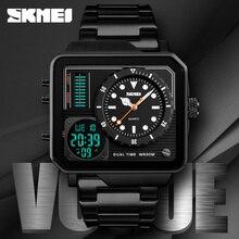SKMEI 高級トップ男性クォーツ時計ファッションデジタルアナログスポーツカジュアル腕時計防水ステンレス鋼時計男性腕時計