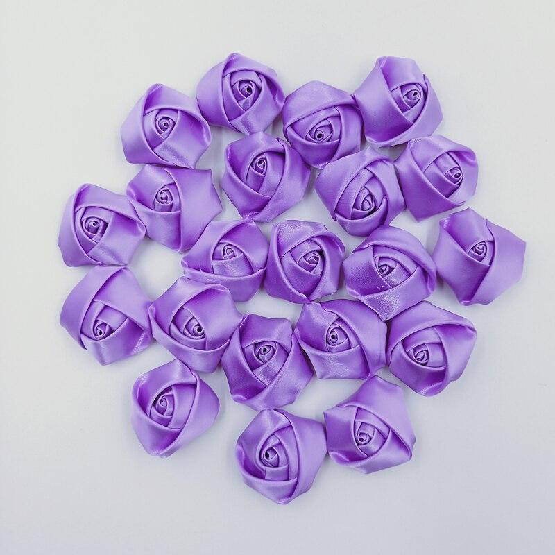 10Pieces/Bag Medium Purple 3.5cm Satin Ribbon Rose Flower Silk Fabric Flower Hand DIY Wedding Bouquet Hair Cloth Accessories