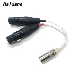 Free Shipping Haldane 8 Cores Silver Plated 4.4mm Balanced Female to Dual 2x 3pin XLR Female Audio Adapter Cable hand made