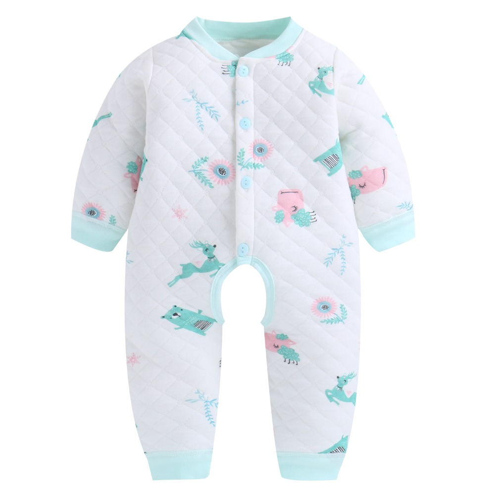 2018 Fashion Baby Rompers Winter Warm Quilted Long Sleeve One Pieces Clothes Newborn Baby Girls Boys Cute Jumpsuits 0-24 Months baby bodysuits girls clothes boys 2018 fashion cute animal bear one pieces body wool hooded newborn baby clothing sets bo047