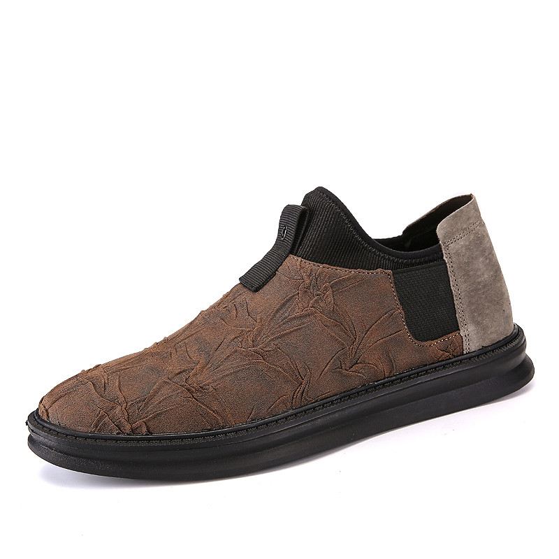 FMZXG 97M 101-109 Men Causal Shoes Genuine Leather Slip On Men Shoes High Quality Rubber Soles Comfortable Shoes Male