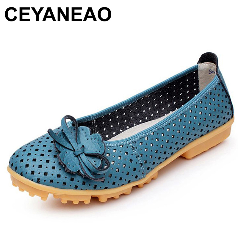 CEYANEAO Hollow Outs Breathable Summer Shoes Women Flats Genuine Leather Soft Women Loafers Ladies Moccasins Female C054 2017 autumn fashion real leather women flats moccasins comfortable summer ladies shoes cut outs loafers woman casual shoes st181