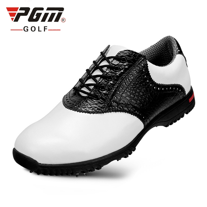 PGM Golf Shoes Men Genuie Leather Activities Nail Men's Shoes Golf Waterproof Non-Slip Sports Shoes B2857 simulation mini golf course display toy set with golf club ball flag