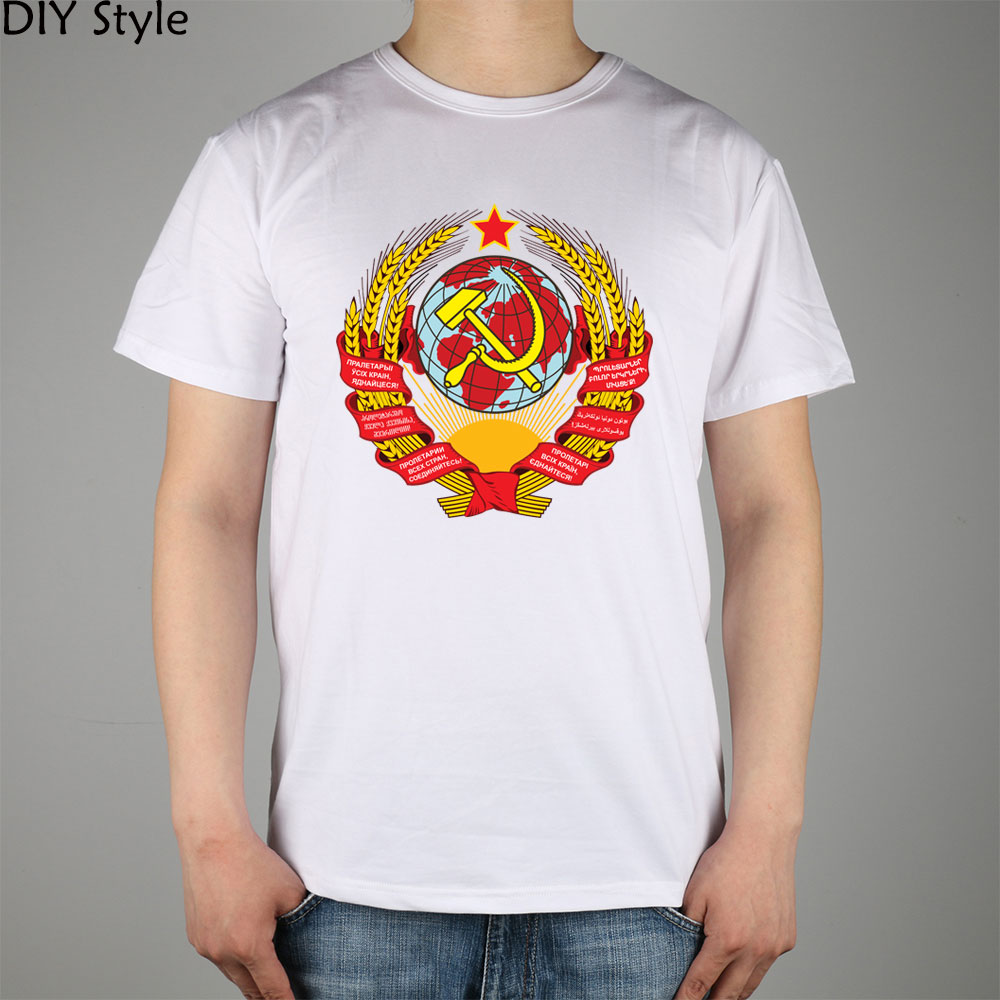 8b0adf9b8267020 Конгресс советов Советского Союза герб Узбекистана ССР футболка хлопок  лайкра рубашки мужчины новый DIY стиль высокого качества