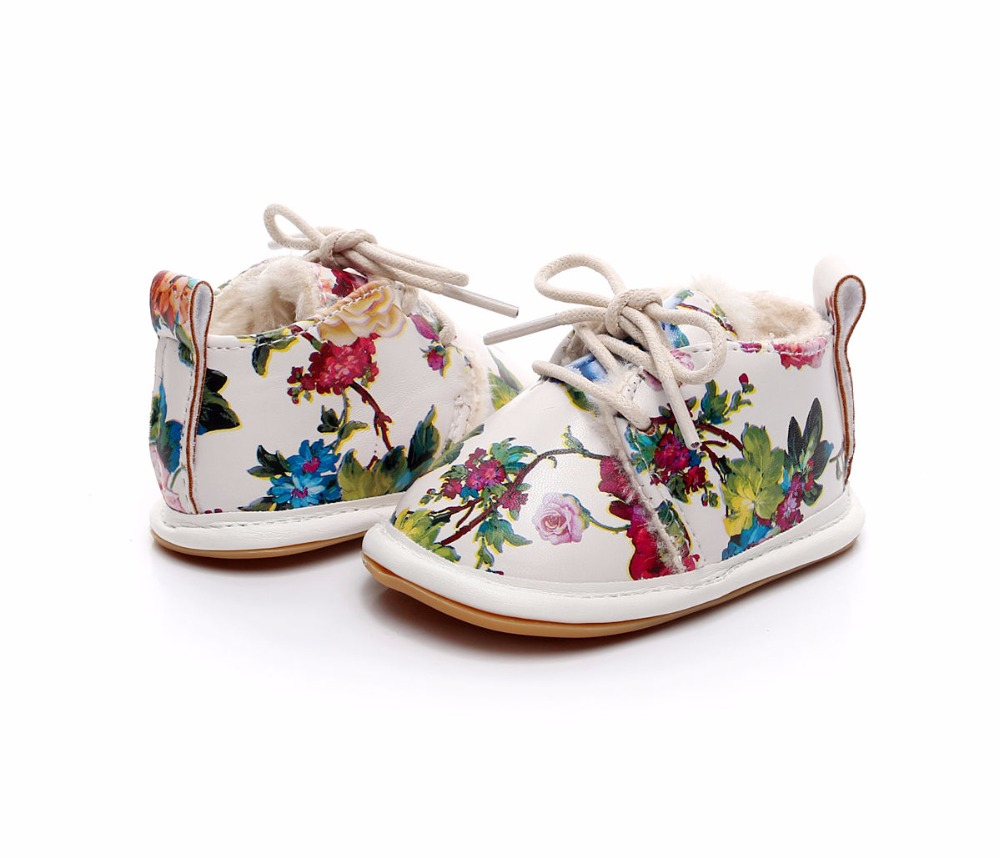 Newborn Winter New Style Print Flower PU Leather Crib Footwear Infant Shoes First Walkers Fleece Warm Snow Boots