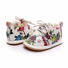Newborn Winter New Style Print Flower PU leather Crib Footwear Infant Shoes Firs