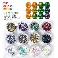 TC3DTT 002 12 Colors 3D Effect 3MM Triangle Shape Glitter Set For Nail Glitter Sequins Nail
