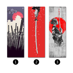 Image 3 - Japanese Samurai Scroll poster Canvas Print Poster with Wooden Hanger Wall Art Living Room Bedroom Home Decor scroll painting