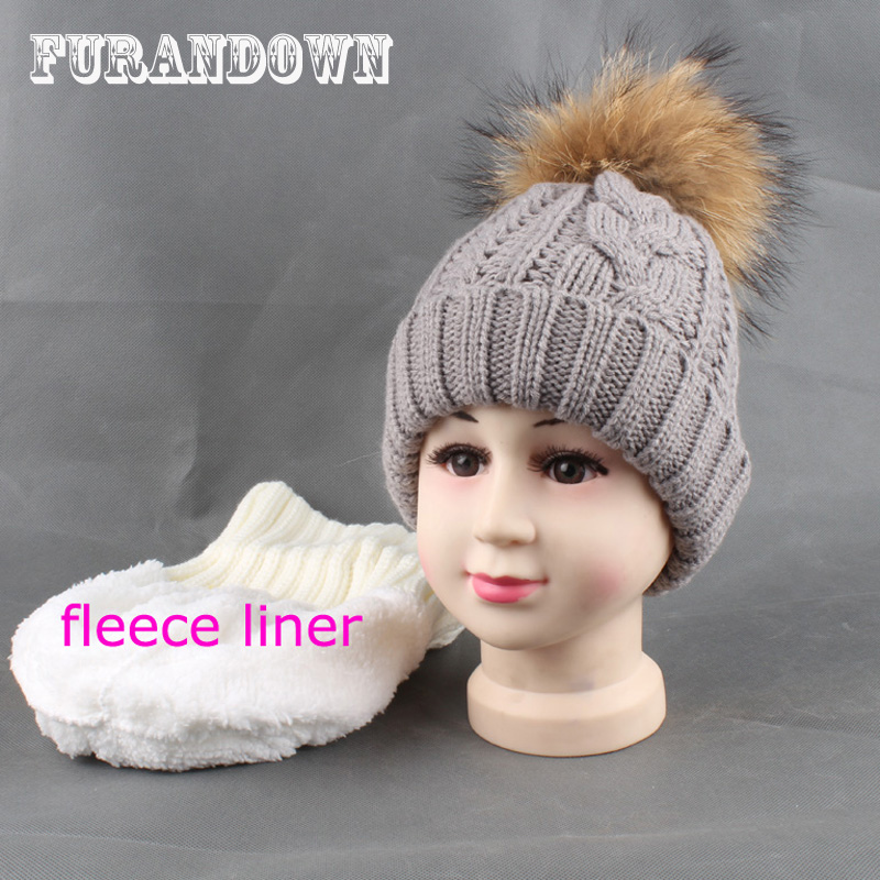 2017 New Winter Kids Fleece Caps Warm Knitted Beanie Hats For Girls Boys Mink Raccoon Fur Pompom Hat new star spring cotton baby hat for 6 months 2 years with fluffy raccoon fox fur pom poms touca kids caps for boys and girls