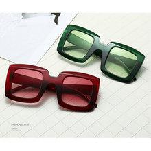 2020 Punk gafas de sol cuadradas de gran tamaño Urban mujeres de lujo marco grande rojo verde gafas de sol mujer Vintage gafas UV400