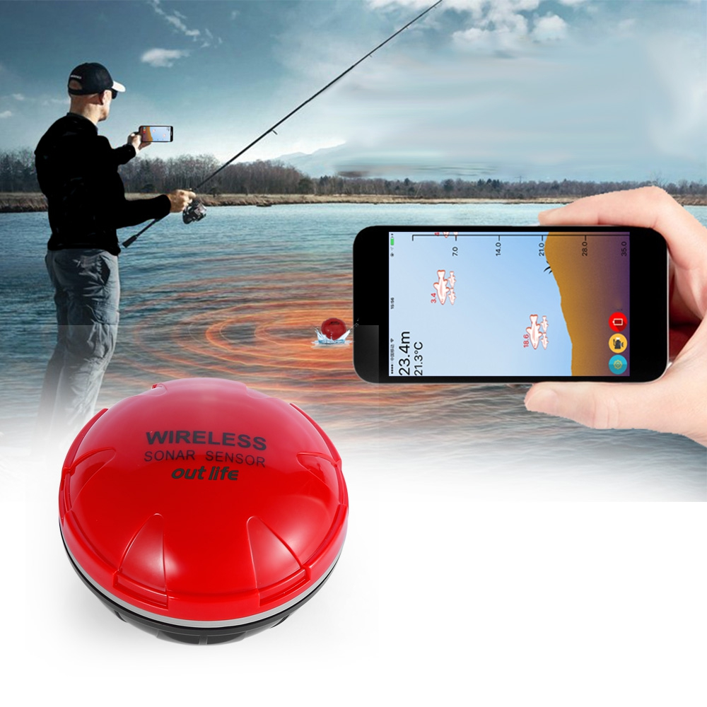 Outlife Wireless Fish Finder Portable Sonar Sensor Echo Sounder Bluetooth Depth Sea Lake Fish Detect Device iOS Android portable fish finder bluetooth wireless echo sounder underwater bluetooth sea lake smart hd sonar sensor depth